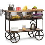 Kitchen Trolley Island Bench Storage Organiser Drawer 3 Shelves On Wheels Ebay
