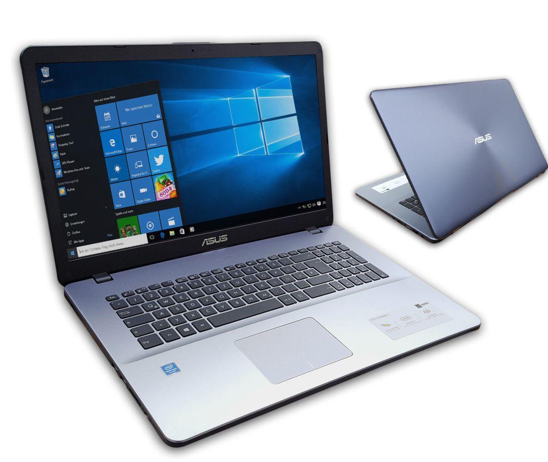 ASUS F705M Notebook 17 Zoll HD+ Quad Core 4 x 2,7GHz 4GB 500GB Win10 Silber