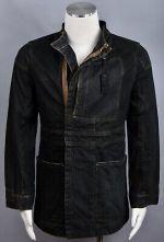 RICK OWENS SLAB #MF06033 Wax Coated Vintage Denim Jeans Men's Jacket  Size L NEW