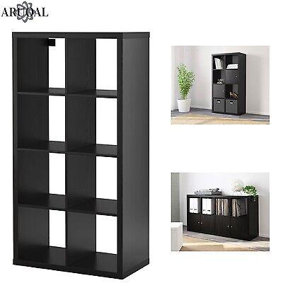Ikea Kallax Black Brown 8 Shelving Unit Display Storage