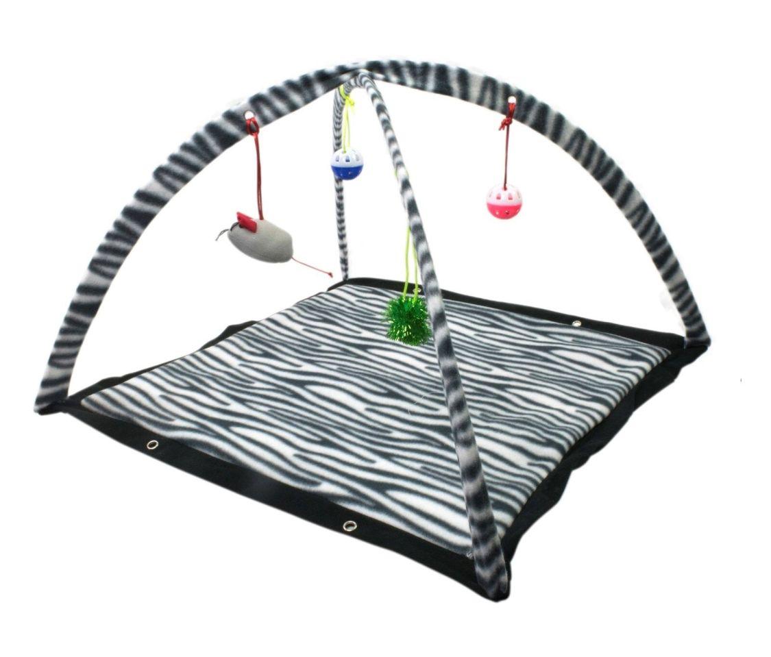 Katze Spielbogen Katzen-Spielstation Spieldecke Ball- und Mäuse-Spielzeug Zebra
