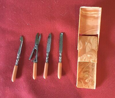 ANTIQUE 1940'S MINIATURE MANICURE NAIL CARE SET MADE IN GERMANY W/CASE