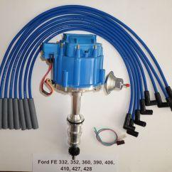 Usa Plug Wiring Diagram Electric Guitar Ford Fe Hei Distributor 332 352 360 390 406 427 428 43 Blue