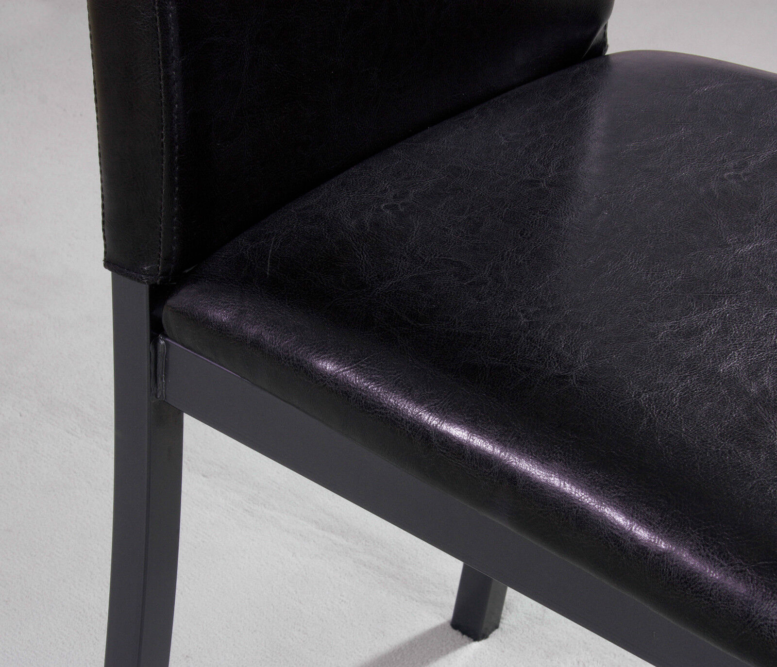 metal frame leather dining chair big and tall room chairs brown faux foam padded strong