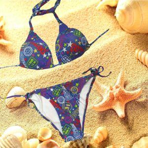 Bikini triangolo imbottito due pezzi donna sexy costume da bagno mare piscina