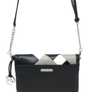 Michael Kors Blakeley Small Black Ecru Grey Leather Crossbody Messenger Bag