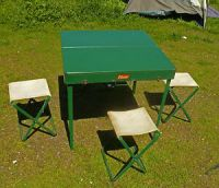 Vintage 1955 Coleman 640 Folding Picnic Table 4 Chairs ...