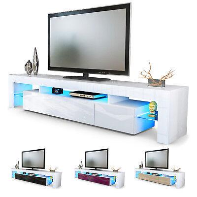 TV Lowboard Board Schrank Fernsehtisch Lima V2 in Weiß - Hochglanz & Naturtöne