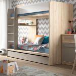Modern Bunk Bed Frame Storage Drawer Kids Bedroom Ladder Oak White Grey Namek Ebay