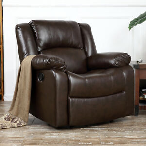 leather chair cushions portable high baby cushion ebay recliner deluxe club large overstuffed faux padded brown