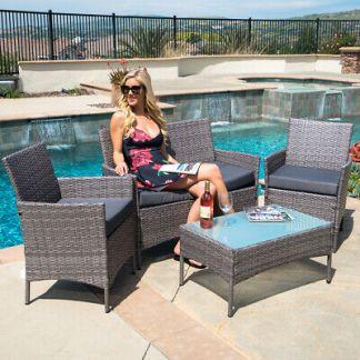 4 PC Rattan Furniture Set Outdoor Patio Garden Sectional PE Wicker Cushion Sofa