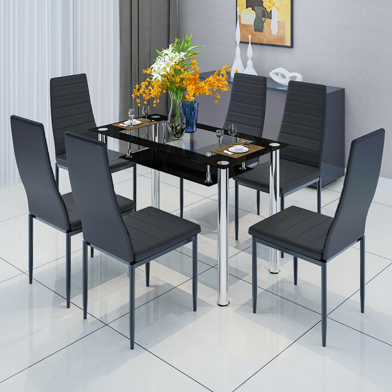 Dining Chair Set Of 6 Details About 2 Tier Tempered Glass Table 4 6 Dining Chairs Set Metal Legs Dining Room Kitchen
