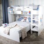 Wizard White Wooden L Shape Triple Sleeper Bunk Bed Frame With Shelf Storage Ebay