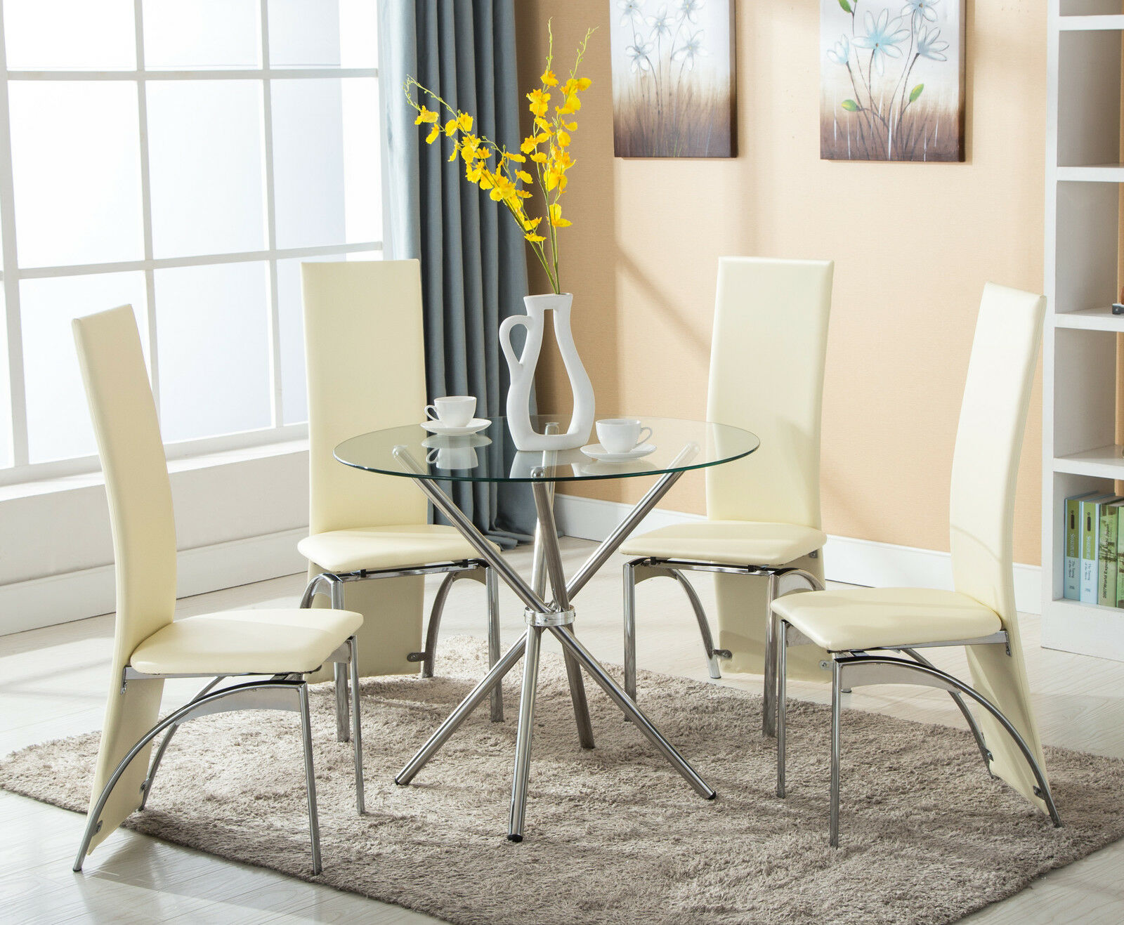 Round Kitchen Table And Chairs Set 5 Piece 4 Chairs Dining Table Set Round Glass High Back