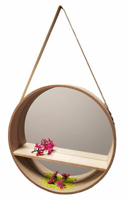 Design Wandspiegel rund 40 cm - Holz Badspiegel Flurspiegel Spiegel mit Ablage