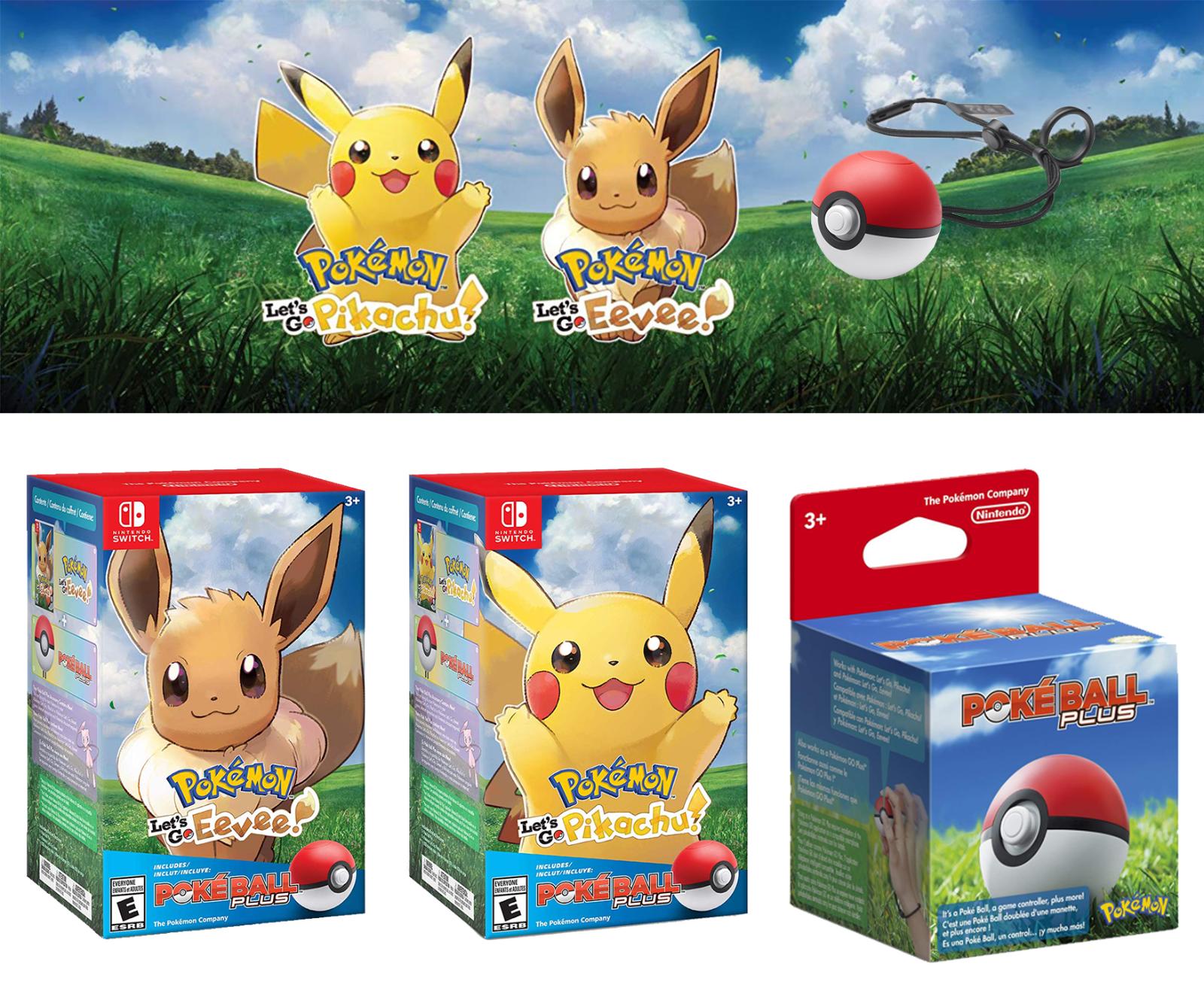 Nintendo Switch Pokemon Let's Go Pikachu & Eevee Edition Game w/ Poké Ball Plus   eBay