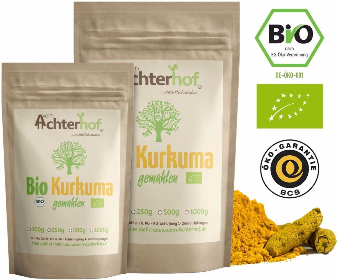 Bio Kurkuma-Pulver 500g Gelb-Wurzel gemahlen Curcuma Kurkumin für Tee Latte