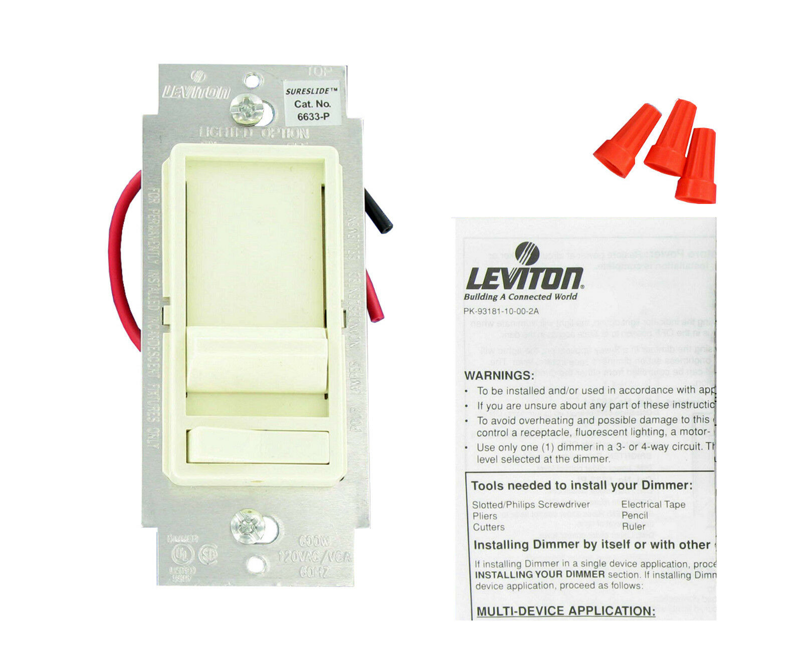 leviton slide dimmer wiring diagram grand cherokee 6633 pla almond sp and 3 way 600w 125v w plate