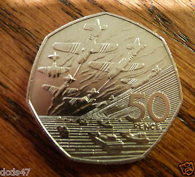 RARE OLD LARGE 50p COIN HUNT 1994 50 YEAR ANNIVERSARY OF D DAY WW2 WORLD WAR 2,
