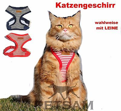 Katzengeschirr Welpengeschirr + wahlw. LEINE Brustgeschirr Softgeschirr SET °°