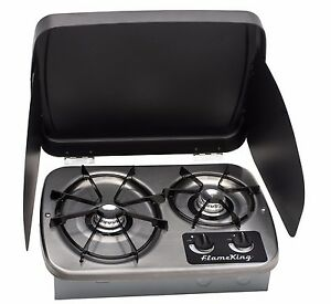 kitchen stove tops polish for cabinets rv top ebay lp gas drop in 2 burner cook stainless steel includes cover