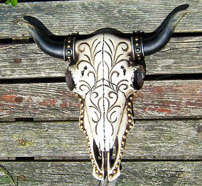 Verzierter Bullenschädel Deko 27cm Stierschädel Geweih Stier Kopf Hörner Bulle