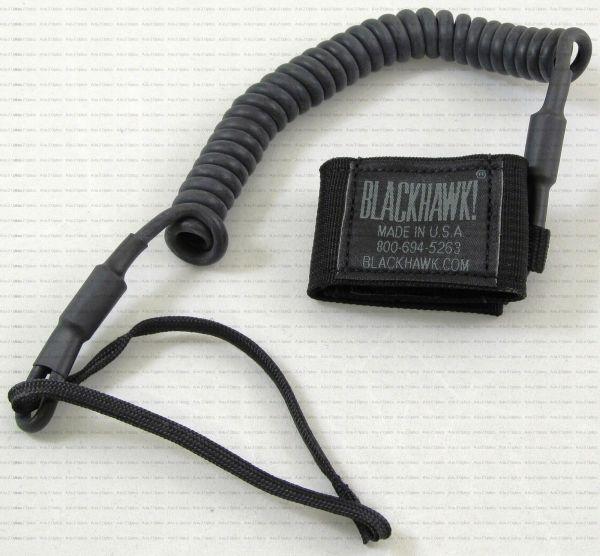 Blackhawk Full Extension Tactical Pistol Lanyard Coiled Black #90tpl1bk