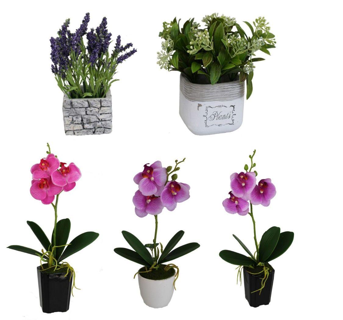 Künstliche Blumen in Topf Kunstpflanze Kunstblume 20-35 cm Lavendel Orchideen