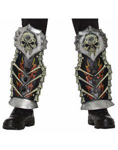 Medieval Fantasy Shin Guards Mens Adult Bones Knight Warrior Costume Armor