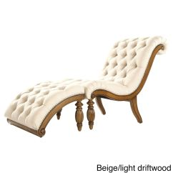 Tufted Chaise Lounge Chair Medical Potty Ottoman Beige Modern Bed Nailhead Sofa Contemporary 1
