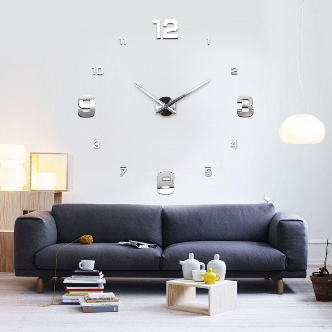 Wanduhr Uhr 3D Wandtattoo Deko Design Spiegel Edelstahl Wand Uhr Groß XXL XL C1