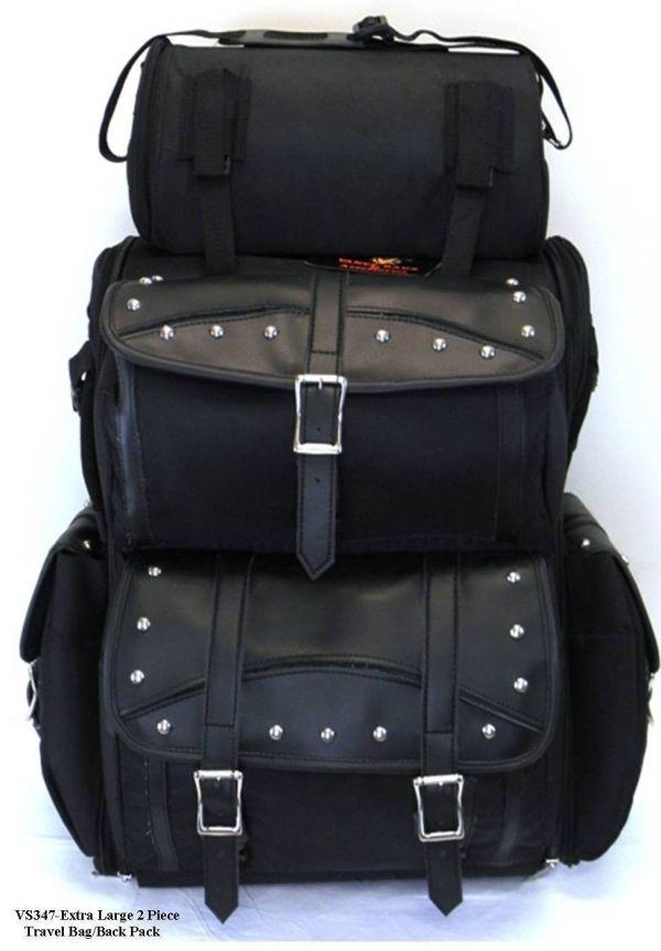 Motorcycle Large Studded Sissy Bar Travel Bag