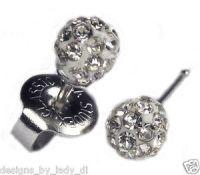 Ear Piercing Earrings 4 5mm Fireball Clear Crystal Silver ...