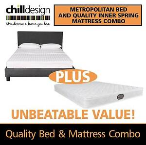 Double Or Queen Size Fabric Bed Frame With Inner Spring Mattress Moffat Beach Caloundra Area Preview