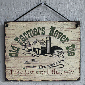 Sign never die funny farm barn home decor country western boots wood