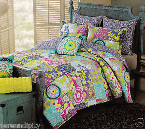 Cynthia rowley twin pink blue green aqua floral patchwork 3 pc quilt