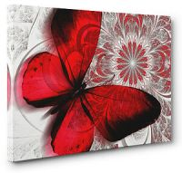 Unique Red Abstract Butterfly Canvas Print Wall Art ...