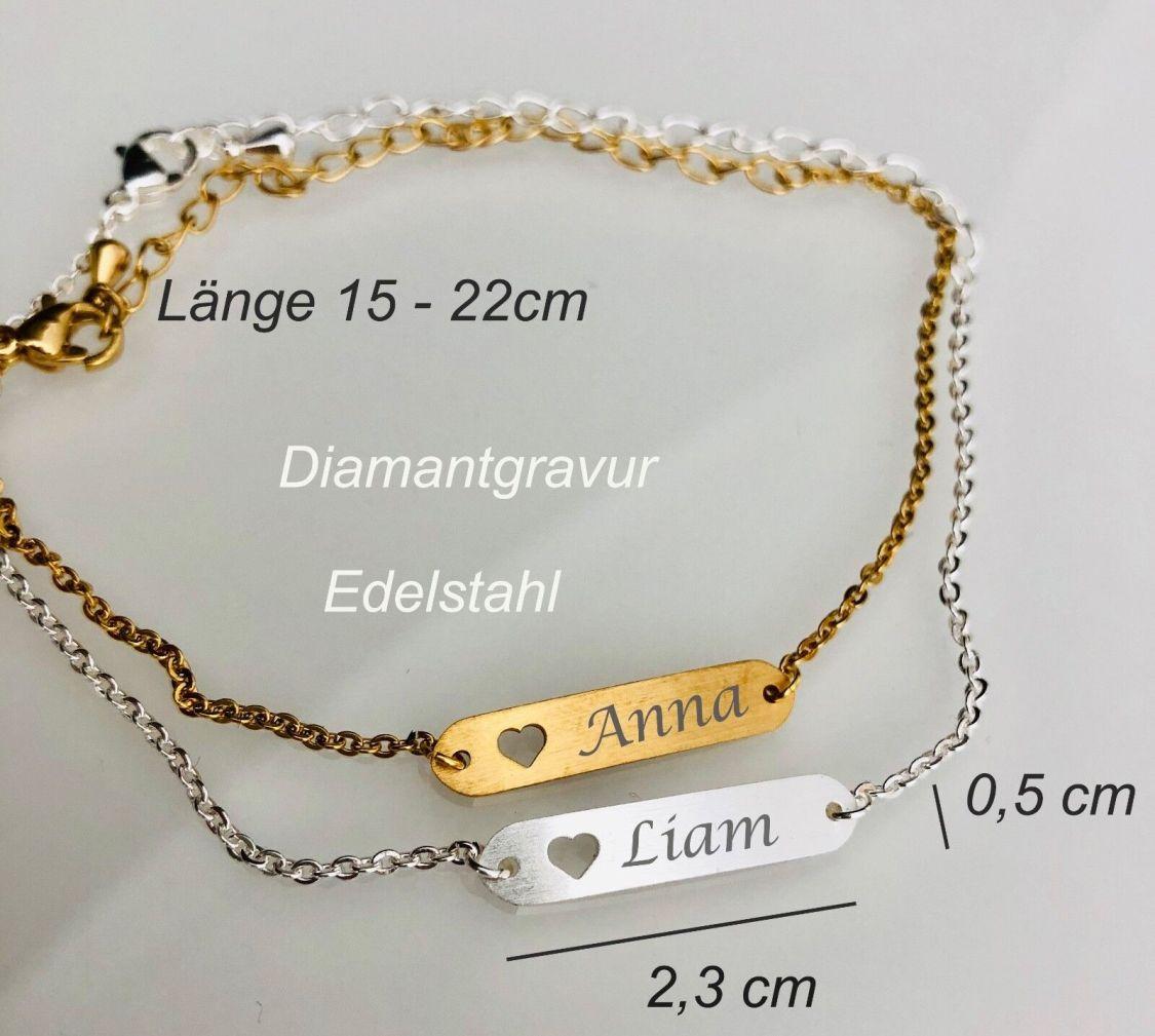 Namensarmband ID mit Gravur Länge 15 - 22 cm Herz Motiv Armband NEU Edelstahl