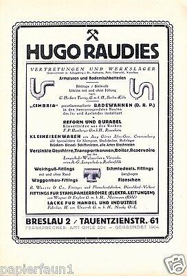 Baubedarf Raudies XL Reklame 1923 Breslau Baus Eisenwaren Heimwerkermarkt ad