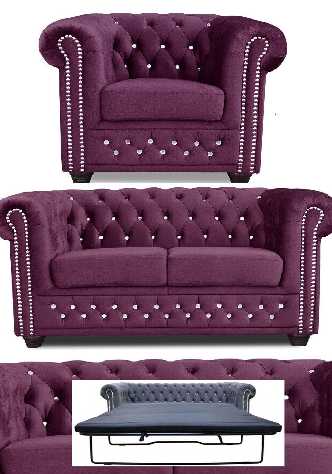 Chesterfield Sofa 3 + 2er Sitzer + Sessel Garnitur BETT STOFF LILA Büromöbel