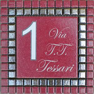 PROMOZIONE Numero civico  via incisi su piastrella di ceramica e mosaico  eBay