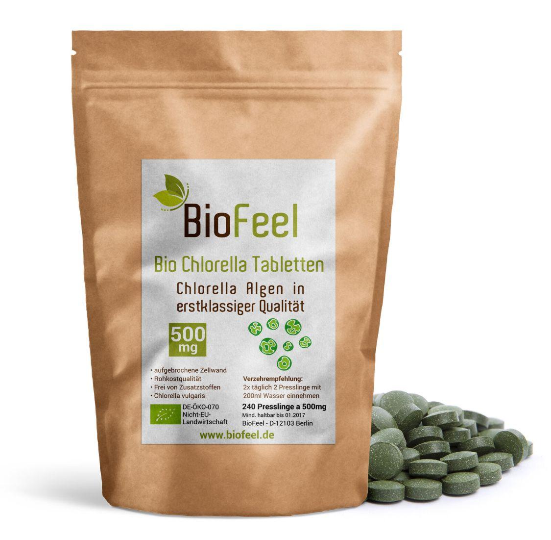 BioFeel - Bio Chlorella Tabletten, 240 Stk., 500mg - Presslinge