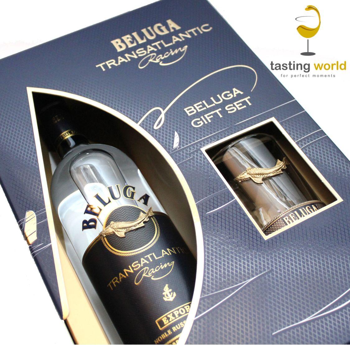 Geschenkset -  Beluga Transatlantic Racing Noble Russian Vodka mit Glas / Wodka