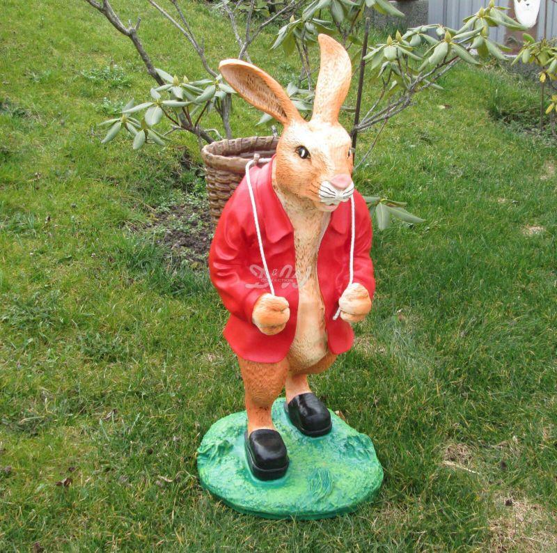 OSTERHASE stehend rot mit KORB 73 cm Garten Deko Tier Figur Ostern Osterdeko