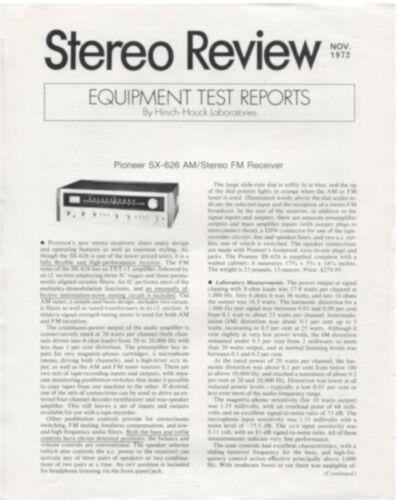Pioneer SX-626 Original Stereo Receiver Lab Report