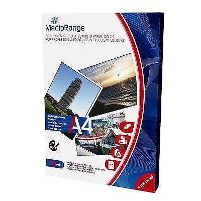250 Mediarange Fotopapier 200g matt beidseitig für Tintenstrahl Drucker DIN A4