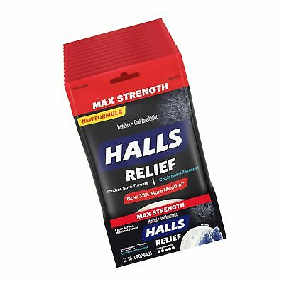 HALLS Relief Max Strength Extra Strong Menthol Throat ...