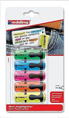 5x edding Textmarker edding 7 mini highlighter, 1-3 mm, sortierte Blisterkarte