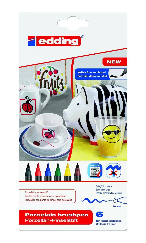 6x Edding 4200 Porzellan Bürste Ben Pinselstift 1–4 mm vers.Farben Family Set -6