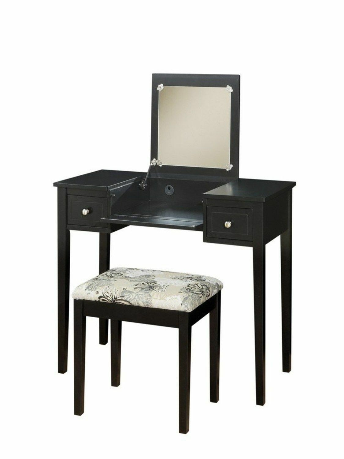 black vanities and makeup tables for